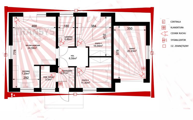 zewnętrzy system alarmowy, alarm z czujnikami zewnętrznymi