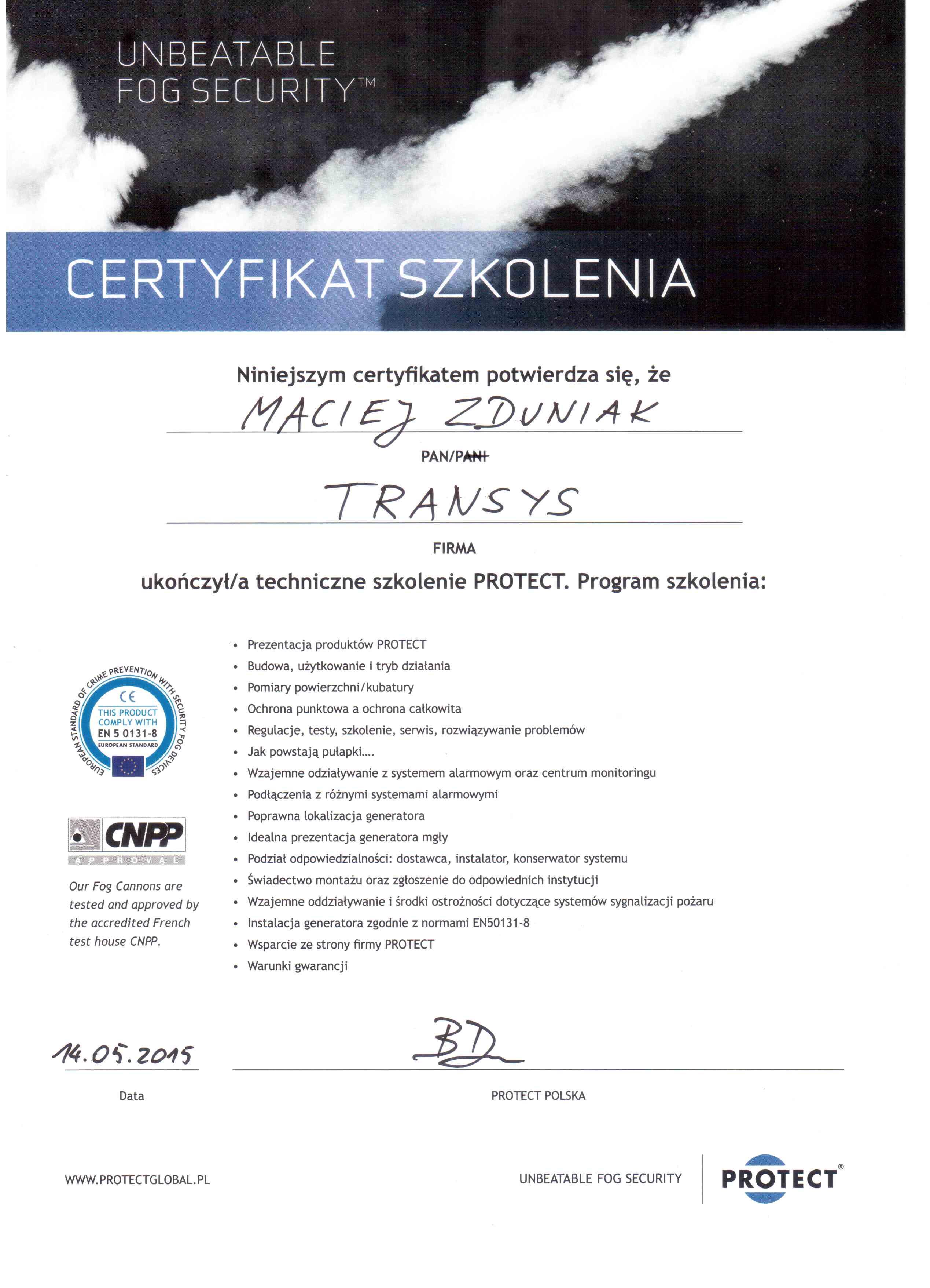 certyfikowany instalator protect generatorów mgły ochronnej