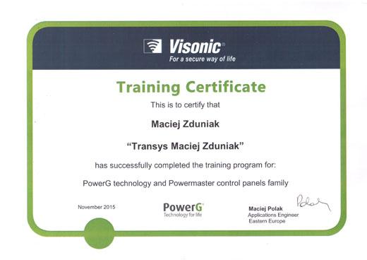 certfikat-powerg certfikat instalatora powerG, certyfikowany instalator visonic