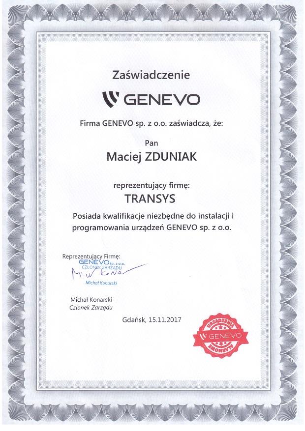 certyfikat instalatora genevo certyfikowany instalator kwalifikowany instalator genevo serwis genevo genevo warszawa